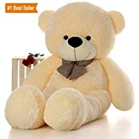 Click4deal Soft Teddy Bear with Neck Bow - 4 Feet (122 cm, Cream)