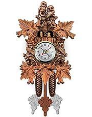 KXL Antique Wood Cuckoo Wall Clock Bird Time Bell Swing Alarm Watch Home Decoration
