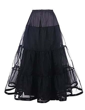 Honeystore Women's Wedding Underskirt Long Ballet Tutu Skirt Full Petticoat Slip Black L