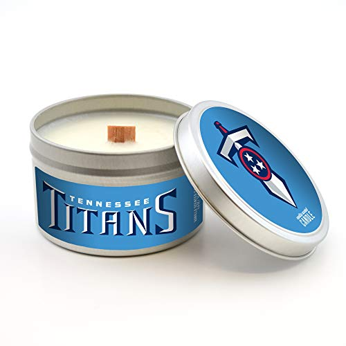 Worthy Promotional NFL Tennessee Titans Vanilla Scented Wood Wick Candle in Travel Tin with Lid, 5.8-Ounce