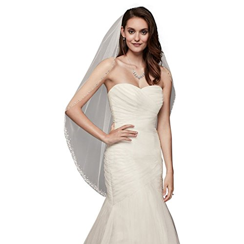 Delicate Scattered Crystal Fingertip Veil Style V701, Ivory by David's Bridal