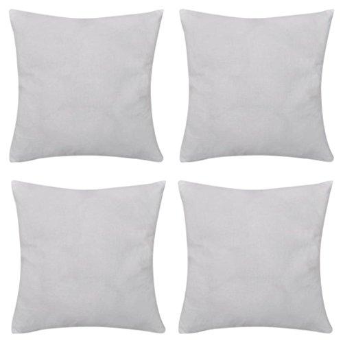 vidaXL 4 Fundas Blancas para Cojines de algodón Dimensiones 80 x 80 cm