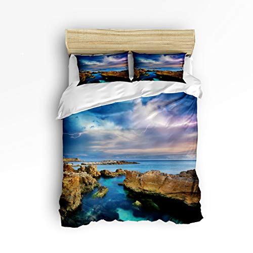 3 Piece Polyester Fabric Bedding Set with Zipper Closure Full Size, Sky Lightning Sea Surface Reef Comforter Cover Set Duvet Cover with 2 Pillow Shams for Girls/Boys/Kids/Children/Teen/Adults