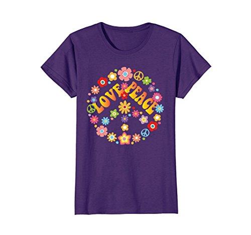 Womens PEACE SIGN LOVE T Shirt 60s 70s Tie Die Hippie Costume Shirt Small (Peace Sign Hippie Costume)