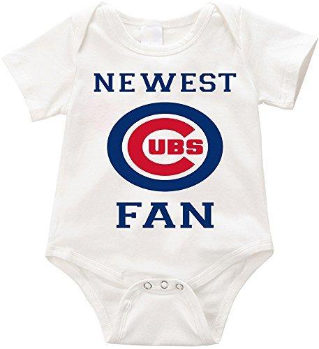 VRW newest cubs fan unisex Onesie Romper Bodysuit- (3 months, White)