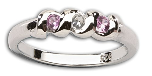 Sterling Silver CZ Simulated Birthstone Ring with Twisted Band