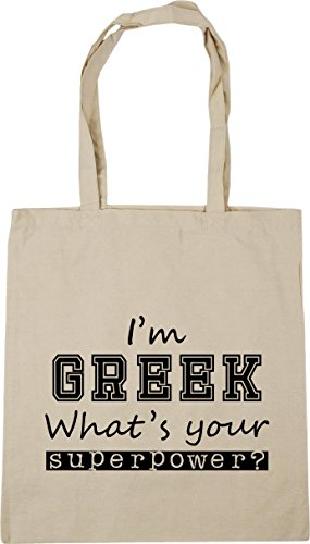 x38cm Tote Gym Beach Your 42cm What's Natural litres Shopping Superpower HippoWarehouse 10 Bag Greek I'm qwXCP