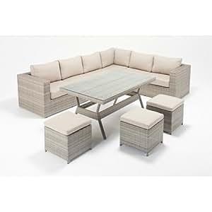 Mágica para jardín ratán Pearl esquina derecha sofá y mesa–jardín al aire libre muebles de ratán