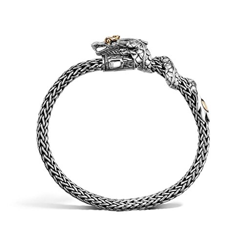 John Hardy WOMEN's Legends Naga Gold & Silver Two Tone Dragon Station Small Silver Bracelet 6.5mm, Size M - BZ651018XM (Naga Dragon Hardy John)