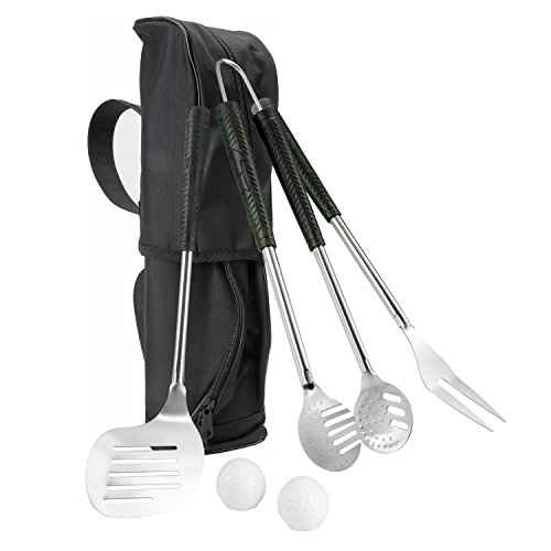 Grip Tpr (Doatry Heavy Duty 6 Piece BBQ Grill Tools Set, Stainless-Steel Barbecue Accessories with Golf Club Style,Grill Utensils with TPR Grips & Golf-Club Bag - Best Gift for Golf Fans)