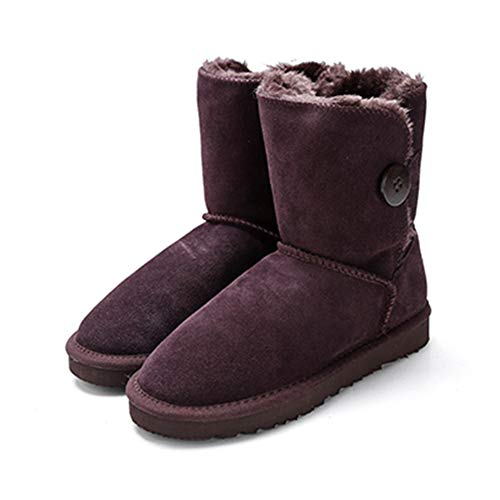 Women's Mid-Calf Snow Boots Fashion Genuine Leather with Buckle Winter Plush Solid Flat Boots Shoes -