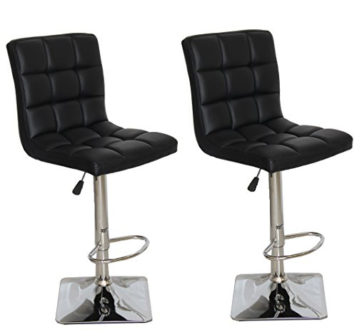 US Pride Furniture Landon Adjustable Swivel Bar Stools, Set of 2, Black For Sale