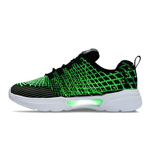 Idea Frames Fiber Optic LED Light Up Shoes for Women Men USB Charging Fashion Sneaker Black/Green]()