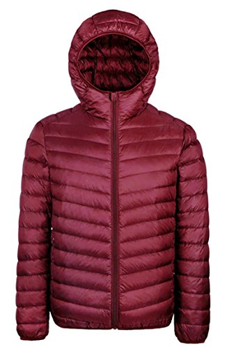 WenVen Men's Winter Hooded Packable Down Jacket - US Size S/Asia size L - Wine Red