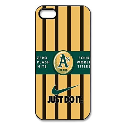 Wood Look MLB Oakland Athletics A's Iphone 5 5S Hard Cover Case-Nike Just Do It