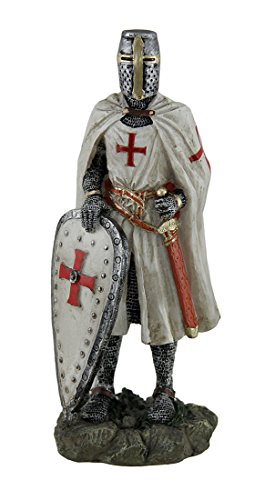 Zeckos Resin Statues Templar Knight Medieval Crusader Standing W/Shield Grasping Sword Statue 3.25 X 8.5 X 2.5 Inches White One Size