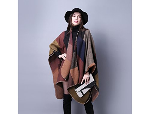 RuSong Womens Plaid Pattern Pashmina Wrap Shawl Infinity Scarf Poncho Cape Cardigans (Brown/ Grid)