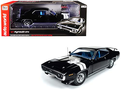 (Auto World 1971 Plymouth GTX Hardtop Black Velvet with White Stripes Limited Edition to 1,002 Pieces Worldwide 1/18 Diecast Model Car AMM1133)