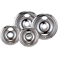 True Choice GE/Hotpoint Stainless Replacement Drip Pan Reflector Bowls With Locking Slots- Set Of 4 (2-6 and 2-8)