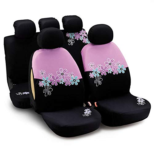 CARWORD Universal Car Seat Covers Air Bag Compatible Pink Flower Embroidery Protectors for Front & Rear for Women and Black