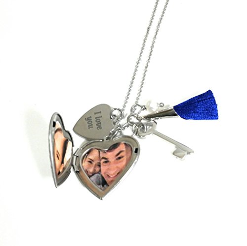 Photo Locket Key I Love You Charm Necklace Non Tarnish Stainless Steel 30 inches Length (Key Necklace Love)