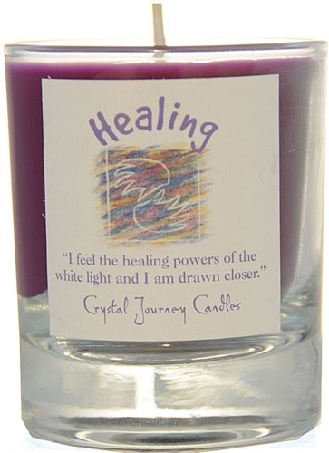 Crystal Journey Herbal Magic Glass Filled Soy Votive Candle Healing