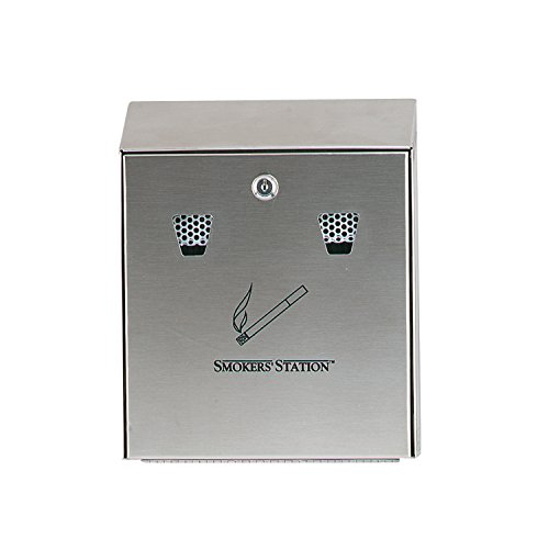 Rubbermaid Commercial Products FGR1012SS Wall Mounted Smoker's Station, - Steel Station Smokers