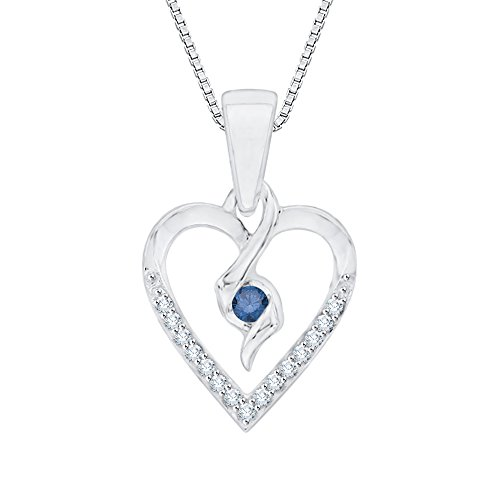 (Center Blue and White Diamond Heart Pendant Necklace in Sterling Silver (1/10 cttw) (Color GH, Clarity I2-I3))