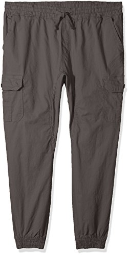 Elastic Cuff Pants (Southpole Men's Washed Stretch Ripstop Cargo Jogger Pants, Dark Grey/New, XX-Large)