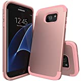 S7 edge Case,Galaxy S7 edge Case,SLMY(TM) [Colorful Series] Hard PC Shell and Soft Silicone Hybrid 3 in 1 Pieces Shockproof Anti-Scratch Combo Cover For Samsung Galaxy S7 edge Rose Gold