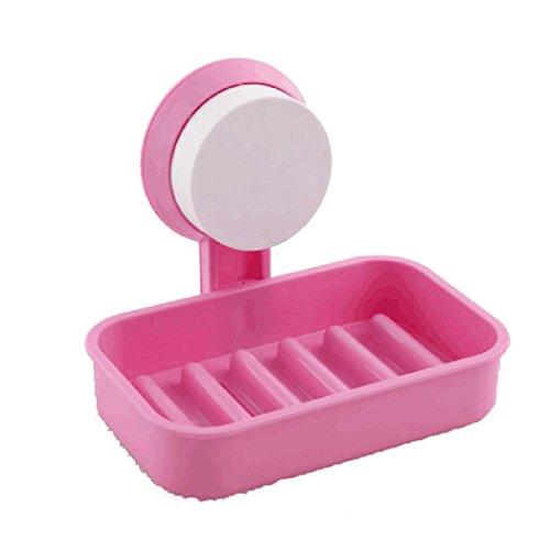 MYEDO Single Vacuum Sucker Soap Box Soap Holder Suction Plastic Soap Dish for Shower (Pink)