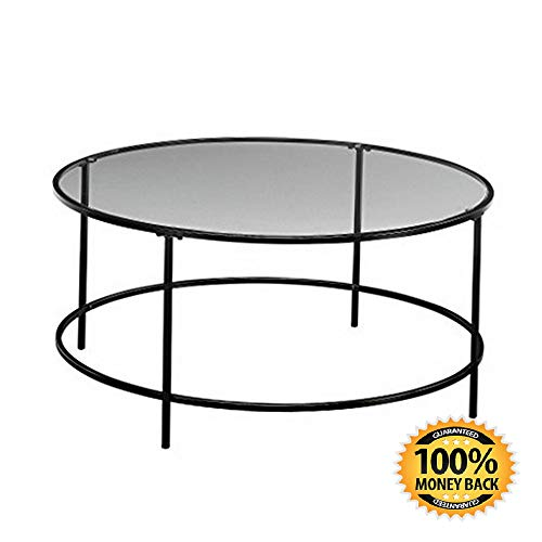"ArtMuseKit 414970 Harvey Park Coffee Table, L W: 35.98"" x H: 16.50"", Black/Clear Glass"