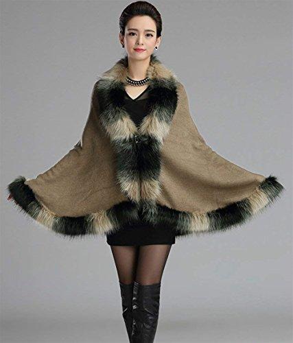 Mujer Mujeres Moda Outerwear Battercake Elegante Abrigo Casuales Anchos Invierno Poncho Khaki Sintética Caliente Piel Outwear Capa Cg5gvSqw
