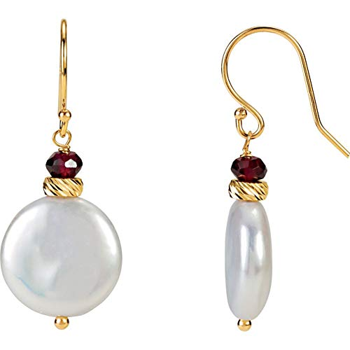 - 33x13mm 14K Yellow Gold 13-14mm Freshwater Cultured Coin Pearl & 4mm Genuine Rhodolite Garnet French Wire Earrings
