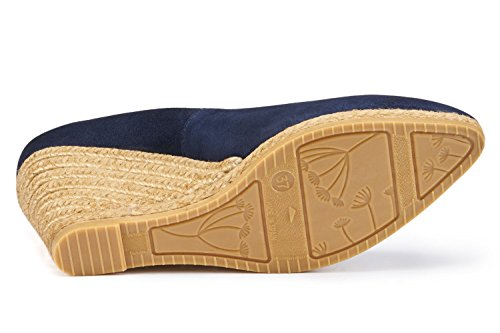 Style Made Navy On Heel Slip 75 Roses Wedge In Inch Elegant Suede Espadrilles Spain VISCATA Pump 2 AYwqaAO