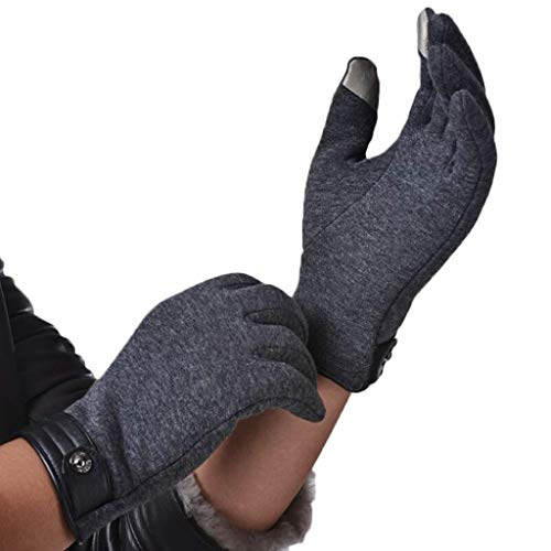 ZXMDMZ Gloves for Motorbike- Autumn and Winter Thickened Touch Screen Gloves, Simple Fashion Plus Velvet Gloves to Keep Warm Solid Color Cycling Driving Gloves (Color : Grey)