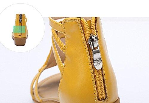 Sandali Con Tacco A Zeppa In Camelia Con Tacco A Spillo In Metallo Color Giallo Taglia 38 Meu