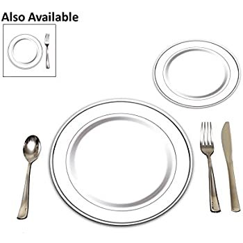 25 Heavyweight Elegant Plastic Disposable Place Settings 25 Dinner Plates 25 Salad or Dessert Plates u0026 25 Polished Silver Plastic Forks Knives u0026 Spoons  sc 1 st  Amazon.com & Amazon.com: Masterpiece