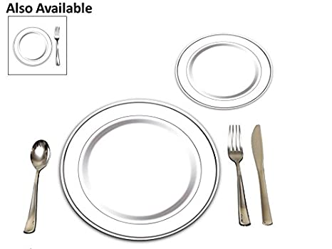 25 Heavyweight Elegant Plastic Disposable Place Settings 25 Dinner Plates 25 Salad or Dessert  sc 1 st  Amazon.com & Amazon.com: 25 Heavyweight Elegant Plastic Disposable Place Settings ...