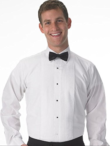 Premium Men's Tuxedo Long Sleeve Shirt Laydown Collar, with Bonus Black Bow Tie - Large 32/33 ()