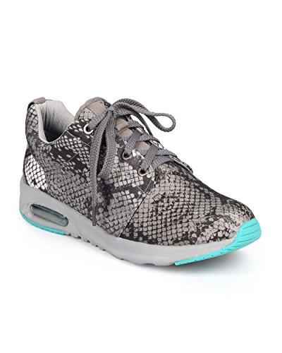 Liliana DA64 Women Nylon Snakeskin Lace up Running Sneaker - Grey (Size: 6.5)