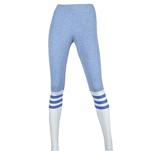 Casa Femmes Elastique Leggings Stripe Fitness Pantalons Capri Jogging Yoga Pants