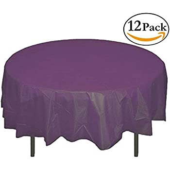 Exceptionnel 12 Pack Premium Plastic Tablecloth 84in. Round Table Cover   Plum