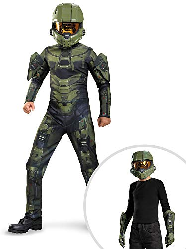Halo Master Chief Costume Kit Kids Large With Helmet and Gloves -