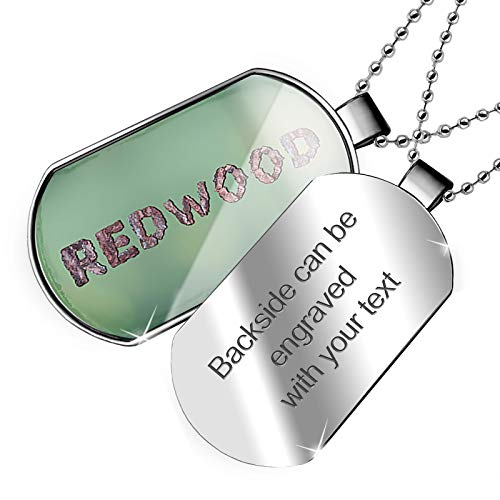 - NEONBLOND Personalized Name Engraved Redwood Tree Bark Dogtag Necklace