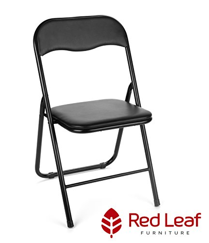 Black Vinyl Folding Card Chairs by Red Leaf Furniture – Pack of 4 Metal Foldable Chairs – Perfect Seating for Heavy Duty Folding Tables, and Office Desks - Excellent for Graduation and Dinner Parties