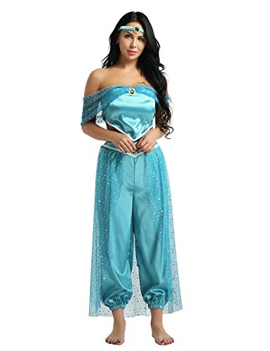 FEESHOW Adult Women's 3 Pieces Jasmine Aladdin Arabian Princess Cosplay Costume Halloween Party Dress Blue Small -