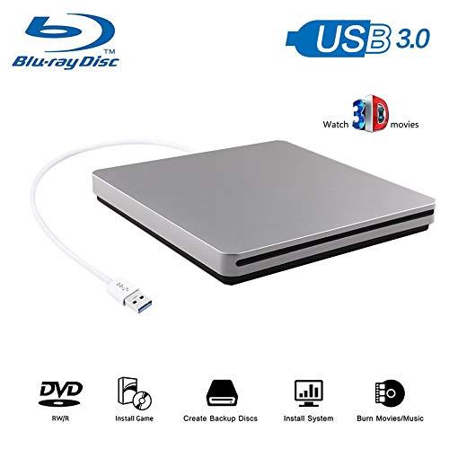 Blu-Ray Player, 3D 4K Player USB 3.0 Ultra Slim CD DVD Drive Portable BD DVD CD RAM Burner Combo High Speed Re-Writer for Sliver Ultrabook Laptop Notebook PC Desktop