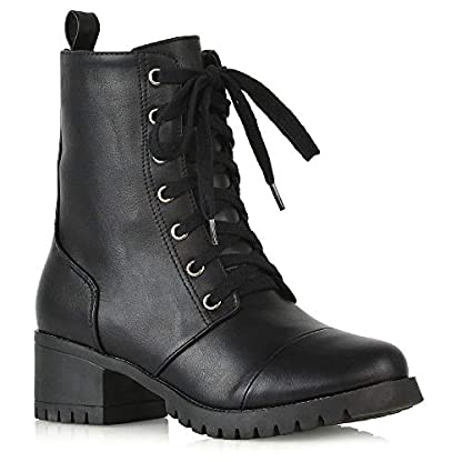 ESSEX GLAM Womens Low Heel Platform Ankle Boots Ladies Cleated Sole Combat Lace Up Shoes Size 3-8 1