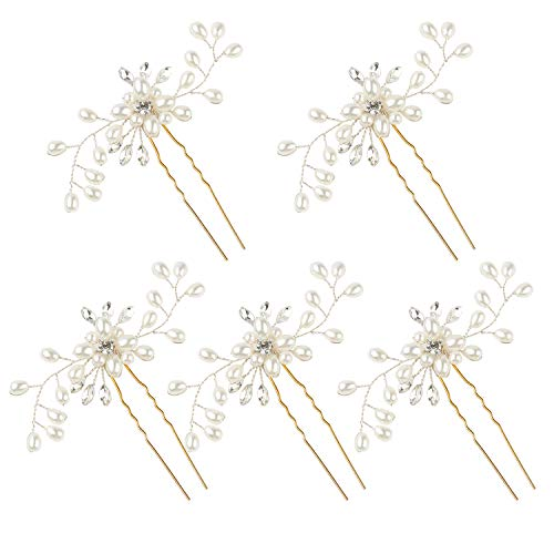 - WBCBEC 5 Pack Wedding Bridal Pearl Flower Crystal Hair Pins for Women and Girls